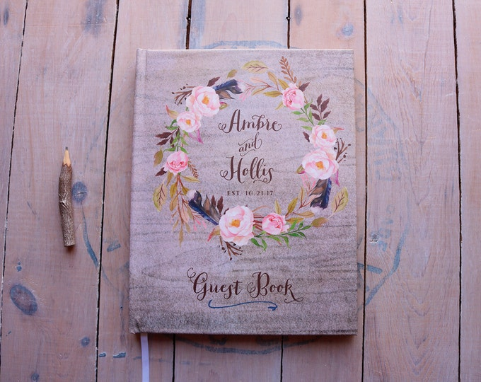 Featured listing image: Fall Wedding Guest Book - Autumn Wedding Guestbook - Custom Guest Book - Personalized Guestbook - Rustic Bohemian Keepsake - Ambre - 8 x 10