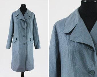 1970s Quelrayn Blue Moiré Raincoat