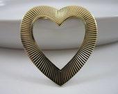 Heart Shaped Gold Tone Lapel Pin - Happy Valentines Day - Eyeglasses holder
