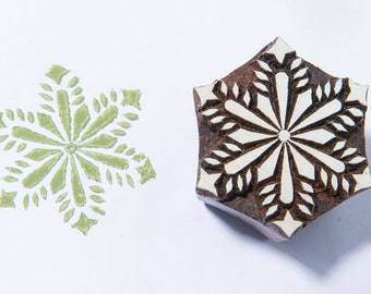 Floral Flake 228, wooden printing block