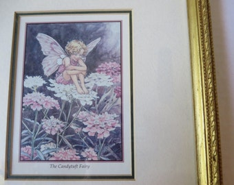 Fantasy Fairy Garden Woodland Fairies Framed Art Print Pink Purple White Flower Fairies Candytuft Fairy