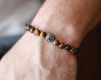 Gun Metal Lion Head bracelet, men's bracelet with Lion Head charm, Lion Head, Beaded Onyx bracelet for men, gift for him