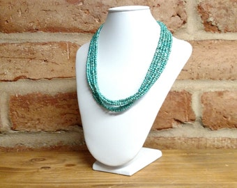 Sea green multistrand seed bead necklace