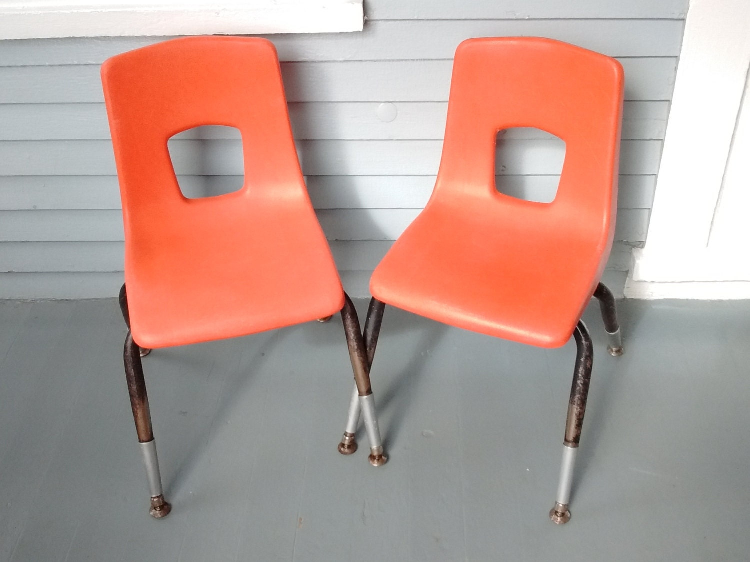 Vintage kids chairs shell chairs stacking chairs kids for Orange kids chair