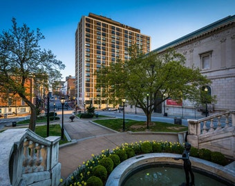 Park and view of buildings in Mount Vernon, Baltimore, Maryland. | Photo Print, Stretched Canvas, or Metal Print.