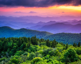 Sunset from Cowee Mountains Overlook, on the Blue Ridge Parkway in North Carolina. | Photo Print, Stretched Canvas, or Metal Print.