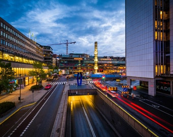 View of Sergels Torg at twilight, in Norrmalm, Stockholm, Sweden. | Photo Print, Stretched Canvas, or Metal Print.