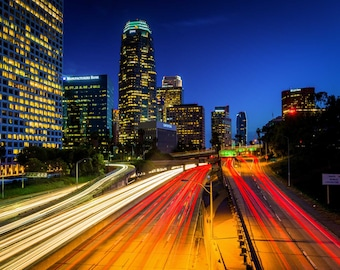 110 Freeway and the skyline at night, in downtown Los Angeles, California. | Photo Print, Stretched Canvas, or Metal Print.
