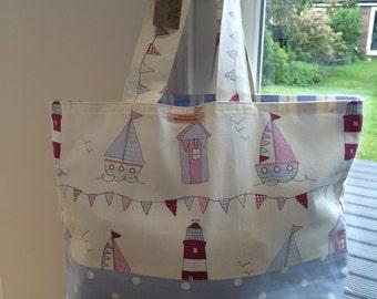 Beach bag/market tote bag - boating  scene Fryetts Fabric