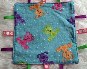 Taggie blanket, sensory blanket, puppy, flannelette and minky blanket