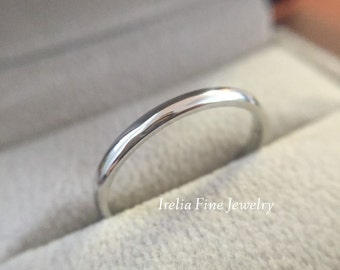 1.5mm wide 14k White Gold Woman's Wedding Band Simple Thin Ring Warranty Included