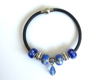 Leather bangle, bracelet with blue floral European beads