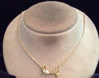 Vintage Faux Pearl Dangling Rhinestone Love Pendant Necklace