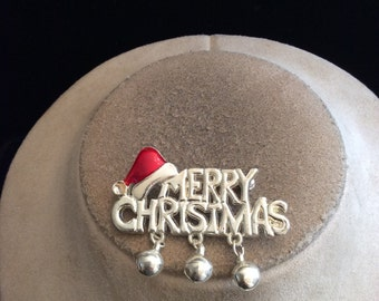 Vintage Enameled MERRY CHRISTMAS Dangling Bells Pin