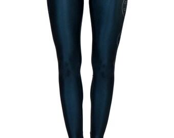 Sacred Geometry Leggings Black with White Details, Yoga Leggings, Yoga pants