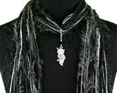 Owl Scarf Accessory, Black Silver, Owl Jewelry, Black Scarf, Fringe Accessory Scarf, Womens Gift Scarf, More Color Choices Available