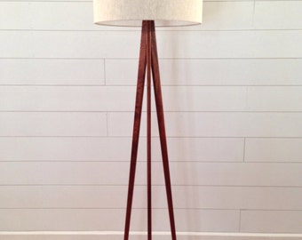 Floor Lamp - Tripod - Mahogany Wood