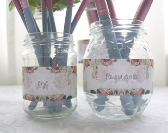 Floral Makeup Brush Labels