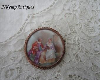 Limoges porcelain brooch
