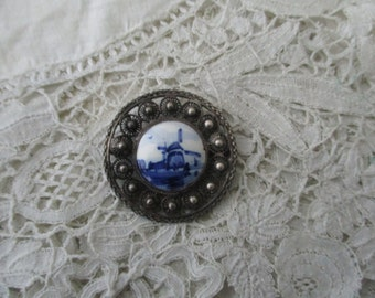 Antique Delft brooch real silver