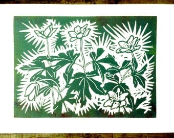 Handcut block print of Wood Anemones