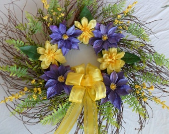 Purple Wreath, Grapevine Wreath, Purple and Yellow Wreath, Everyday Wreath, Front Door Wreath, Spring Wreath