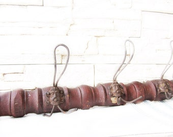 Large vintage wooden coat rack with metal hooks,Vintage wall hanger,Portmanteau, Shabby chic,Country,Rust,Wall hooks,Hat rack,Farmhouse