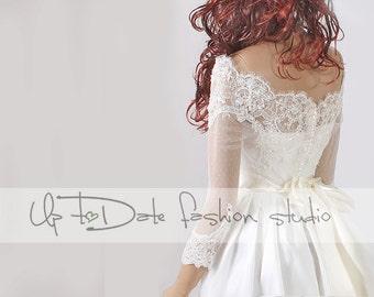 Off-Shoulder /high quality/wedding jacket/Bridal lace bolero/shrug/jacket /bridal lace top