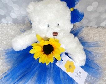 Royal Blue Sunflower Princess Tutu Teddy Bear, girls gift, flower girl gift, junior bridesmaid gift, Wedding Keepsake