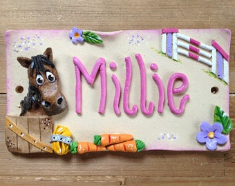 Horse Stall Plaque, Stable Sign, Personalised Name Plate for Horses and Donkeys, Ceramic
