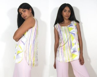 Vintage 60s Striped Abstract Geometric Pastel Silk Shell Top Tunic Blouse Curved Hem