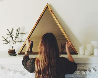Large Triangle Mirror - Reclaimed Wood