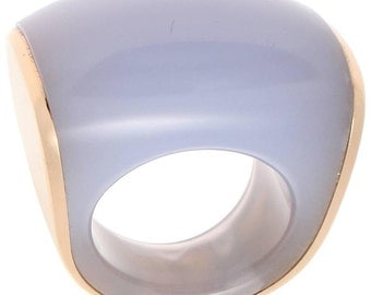 Vhernier Chalcedony Gold Plateau Ring