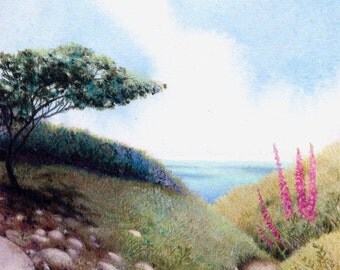 Original watercolour of seascape | Seashore painting | Small wall art | Coastline of Pembrokeshire in West Wales | Welsh landscape
