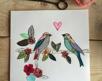 Lovebirds on a branch -stitched- mixed media- original artwork