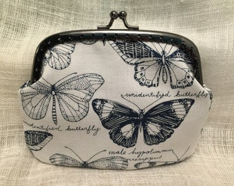 Large Black and White Butterfly Coin Purse