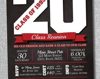 Class Reunion Invitation - Custom School Colors - Digital File Only