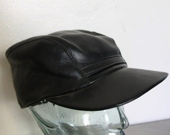 Vintage 70s/80s Black Leather Hat
