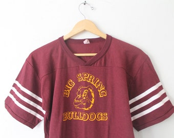 LARGE Vintage 1970s Big Spring Bulldogs Graphic T-Shirt