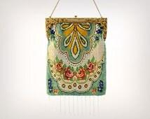 20s Purse // 1920's Art Nouveau Floral Glass Beaded Evening Bag w/ Fringe Trim // Antique Flapper Gatsby Handbag