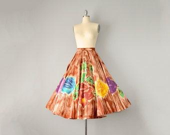 40s Skirt // 1940's Deadstock Hand Painted Circle Skirt w/ Wrap-style Waist in Flower/Bark Pattern // S-M