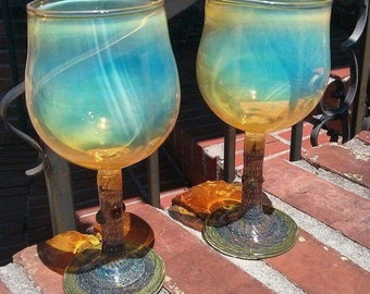 WINE GLASS - silver fumed top