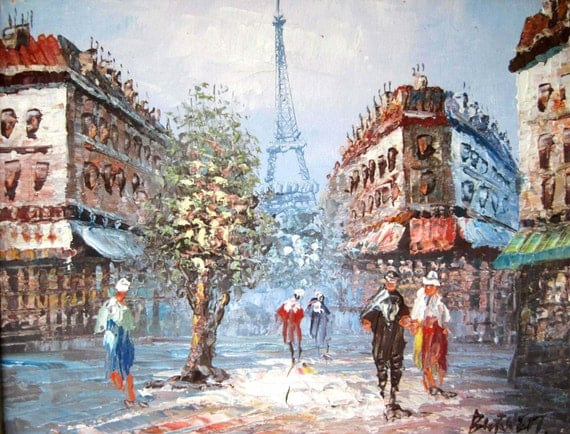 Mid Century Wood Frame Original Oil Painting Of Paris With