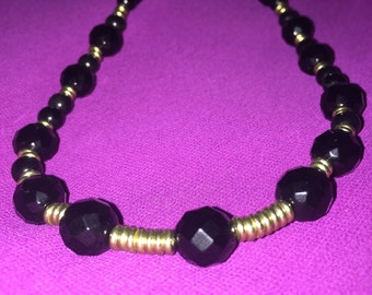 Onyx Necklace*Brass and Onyx Necklace*Sophisticated Necklace*Ladies Fashion Necklace*Something Exquisite