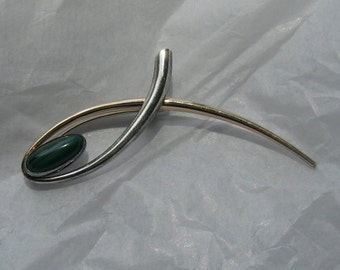 RARE Vintage ED LEVIN Pin; Sterling, 14K Gold, and Malachite; A Marvelous Modernist Find!