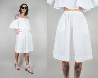 white eyelet cotton Skirt
