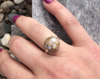 Ivory Copper Calcite Ring