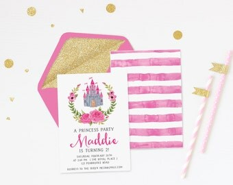Printable Princess Party Invitation, Little Girl Birthday Invitation, Pink Watercolor