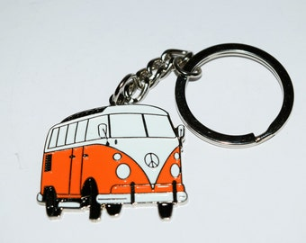 Orange Camper Van Keyring-Detailed enamel