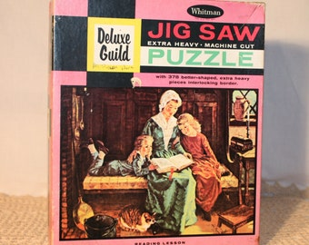 "Whitman Jig Saw puzzle with 378 better shaped extra heavy pieces, Deluxe Guild, Reading Lesson, 18"" by 15.5"", 1960s"